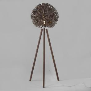Tom Raffield Giant No.1 floor light and wooden stand walnut